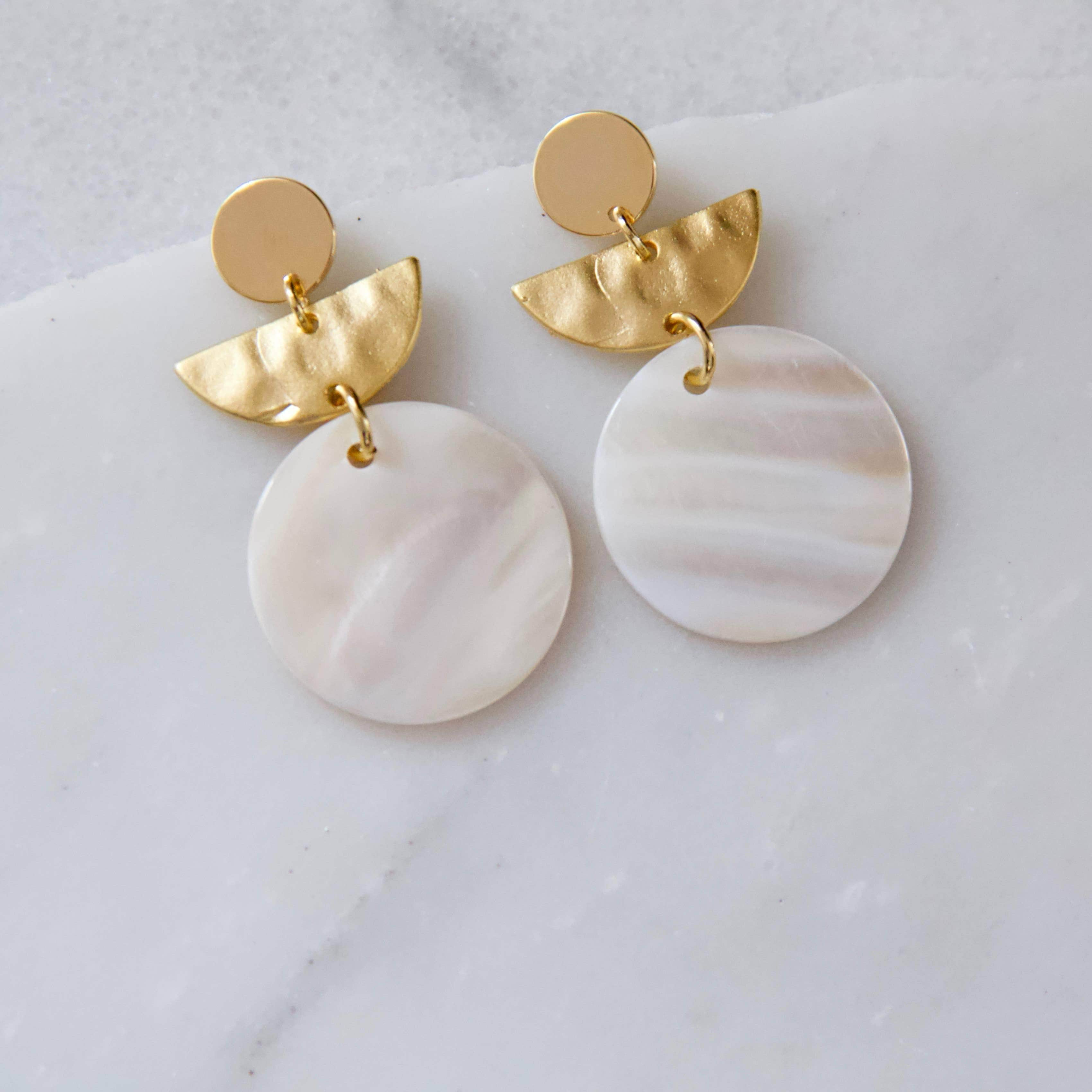 Mother Of Pearl Hammered Crescent Earrings