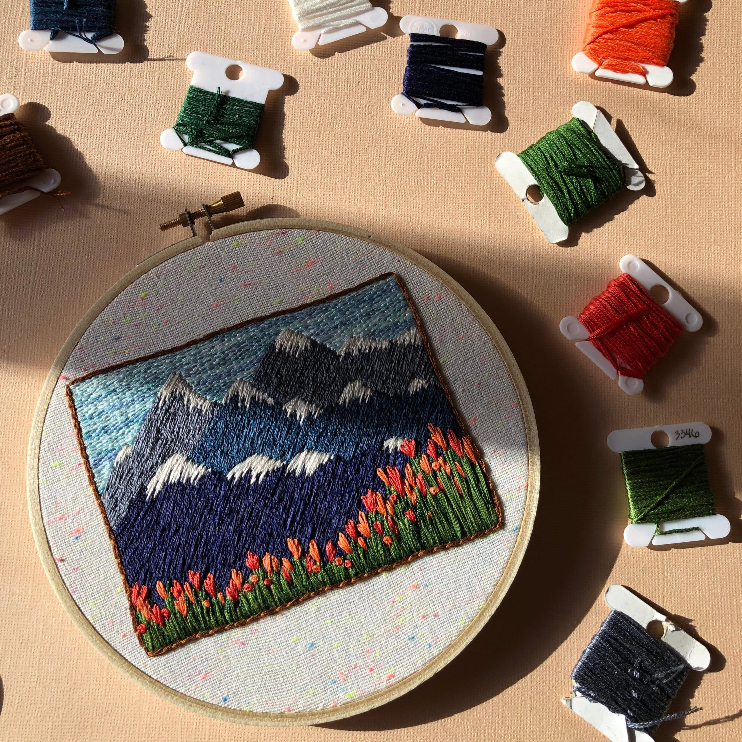 Mountain & Tulip Landscape Embroidery Kit