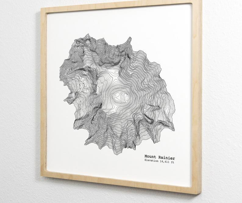 Mount Rainier Art Print - Topographic Map