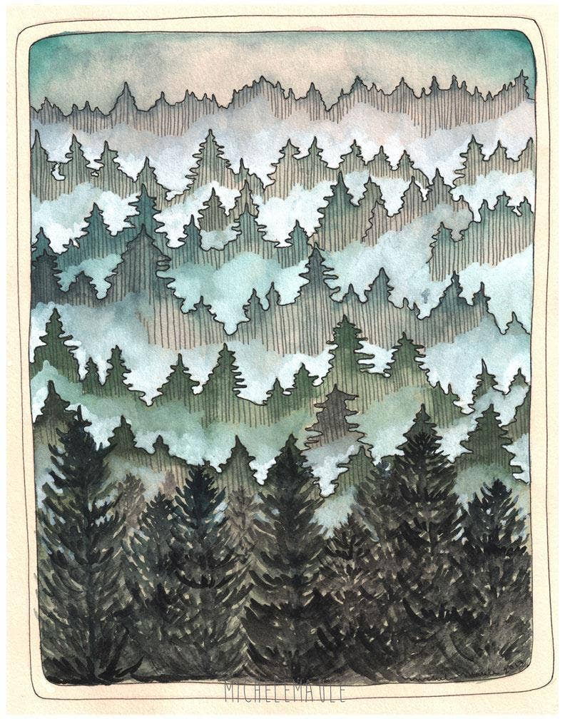 "11'' x 14"" Northwest Forest Art Print"