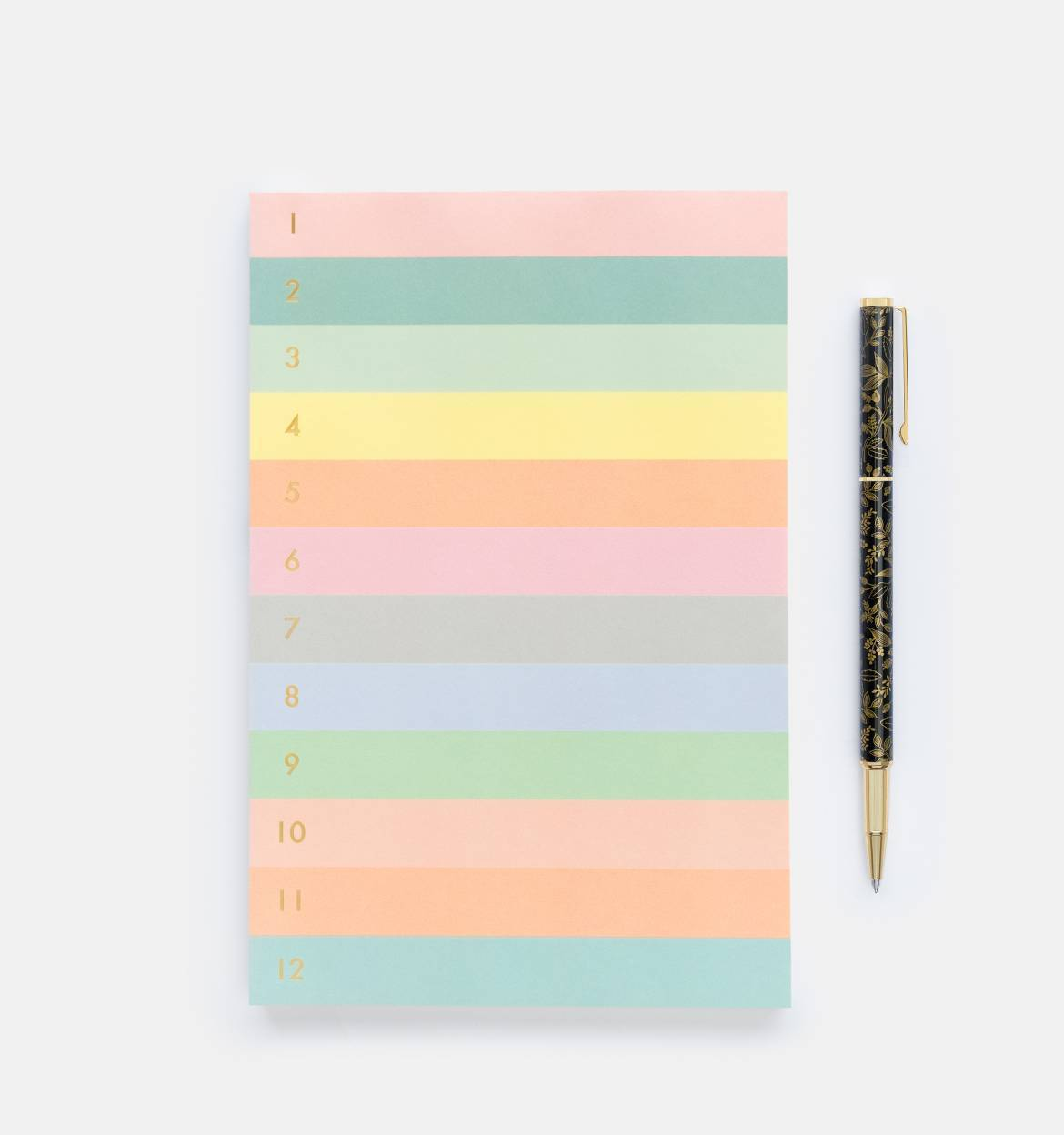 Numbered Colored Block Memo Notepad
