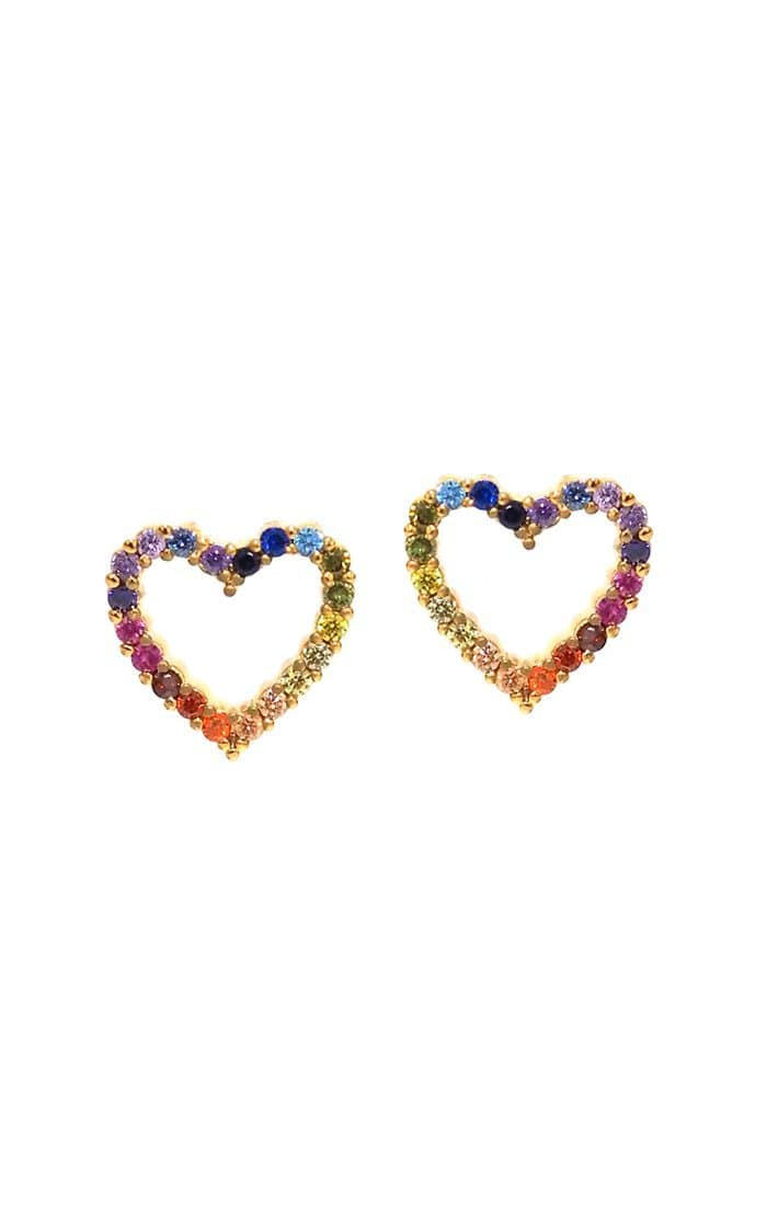 Open Rainbow Heart Earrings