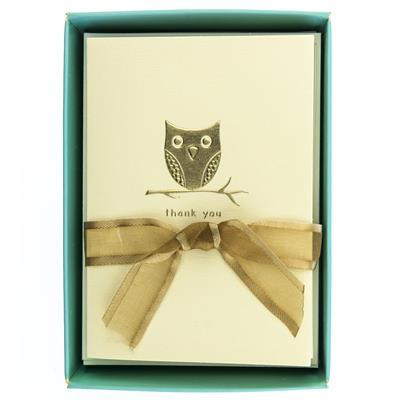 Owl On a Branch La Petite Presse Folded Thank You Notes