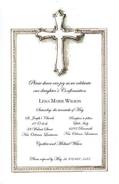 Pewter Cross Blank Invitations