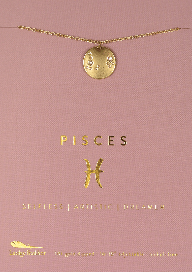 Lucky Feather Pisces Zodiac Sign Constellation Necklace