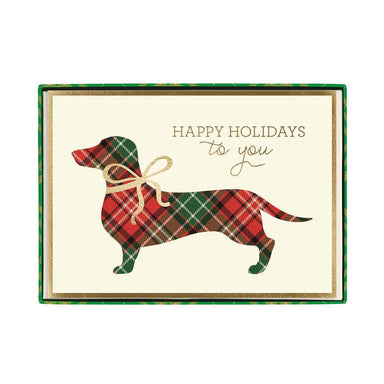 Plaid Dachshund Signature Boxed Cards