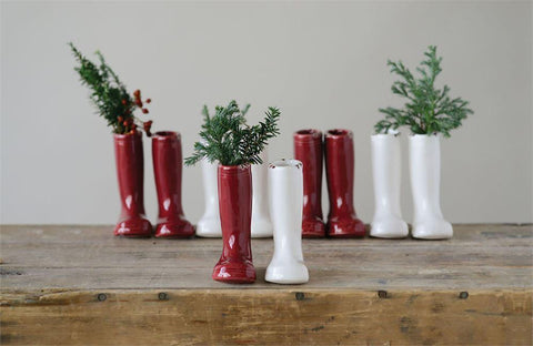 Red and White Stoneware Boot Vase