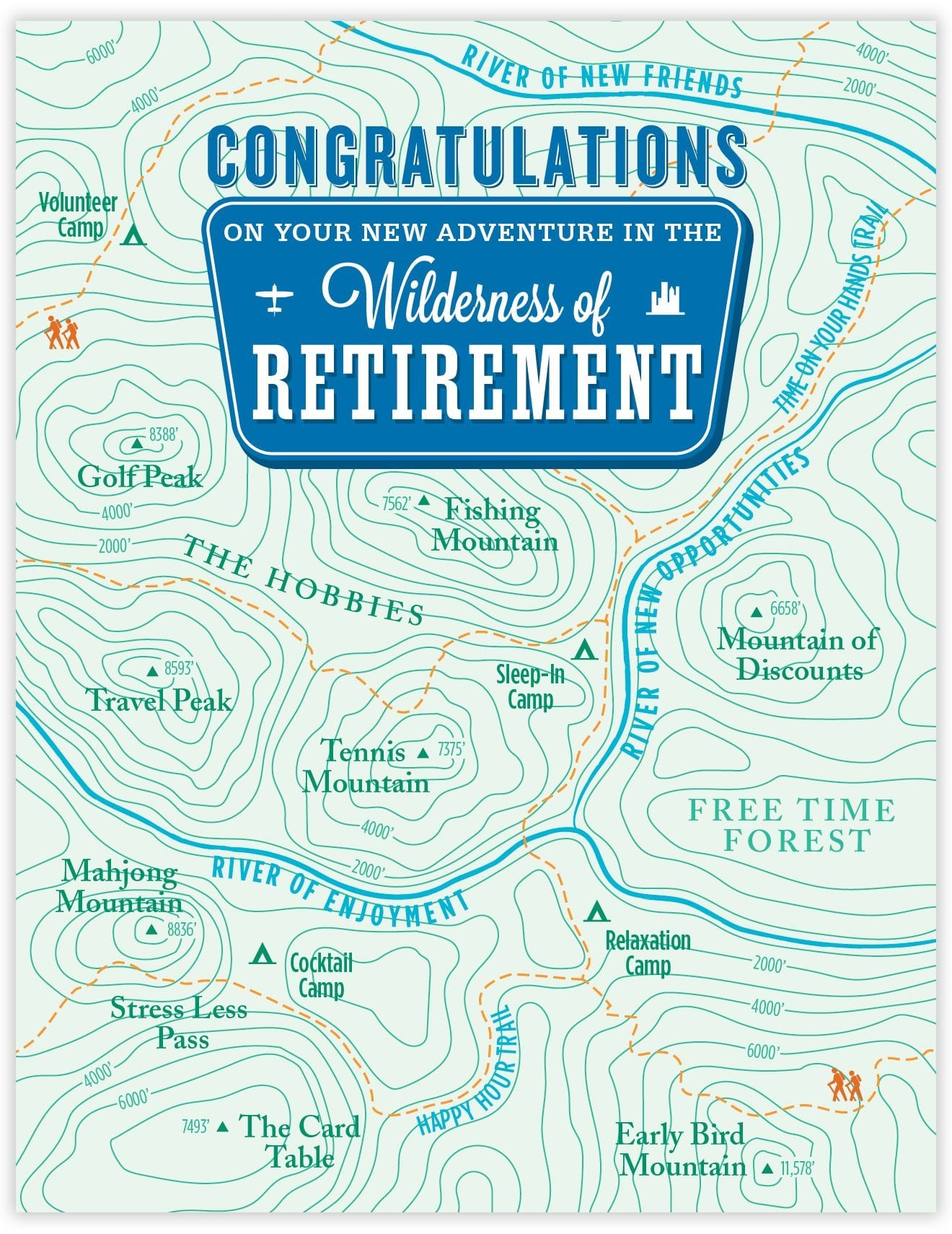 Retirement Topo Map Card