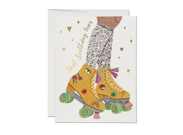Roller Skate Foil Birthday Card