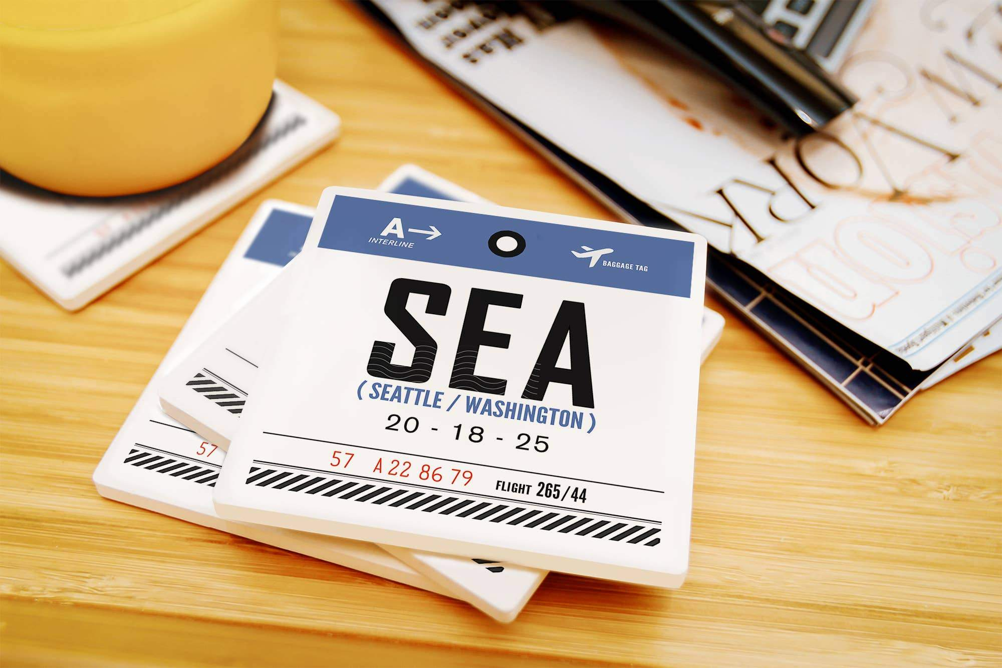 SEA - Luggage Tag Ceramic Coaster
