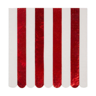 Shiny Red Stripe Large Napkins