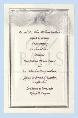 Ecru Silver Foil Bordered with Ribbon Blank Invitations