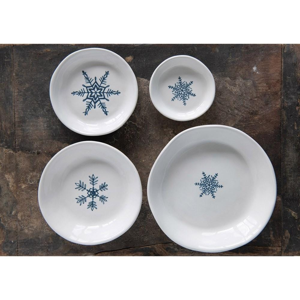 Round Stoneware Dishes w/ Hand-Painted Snowflakes