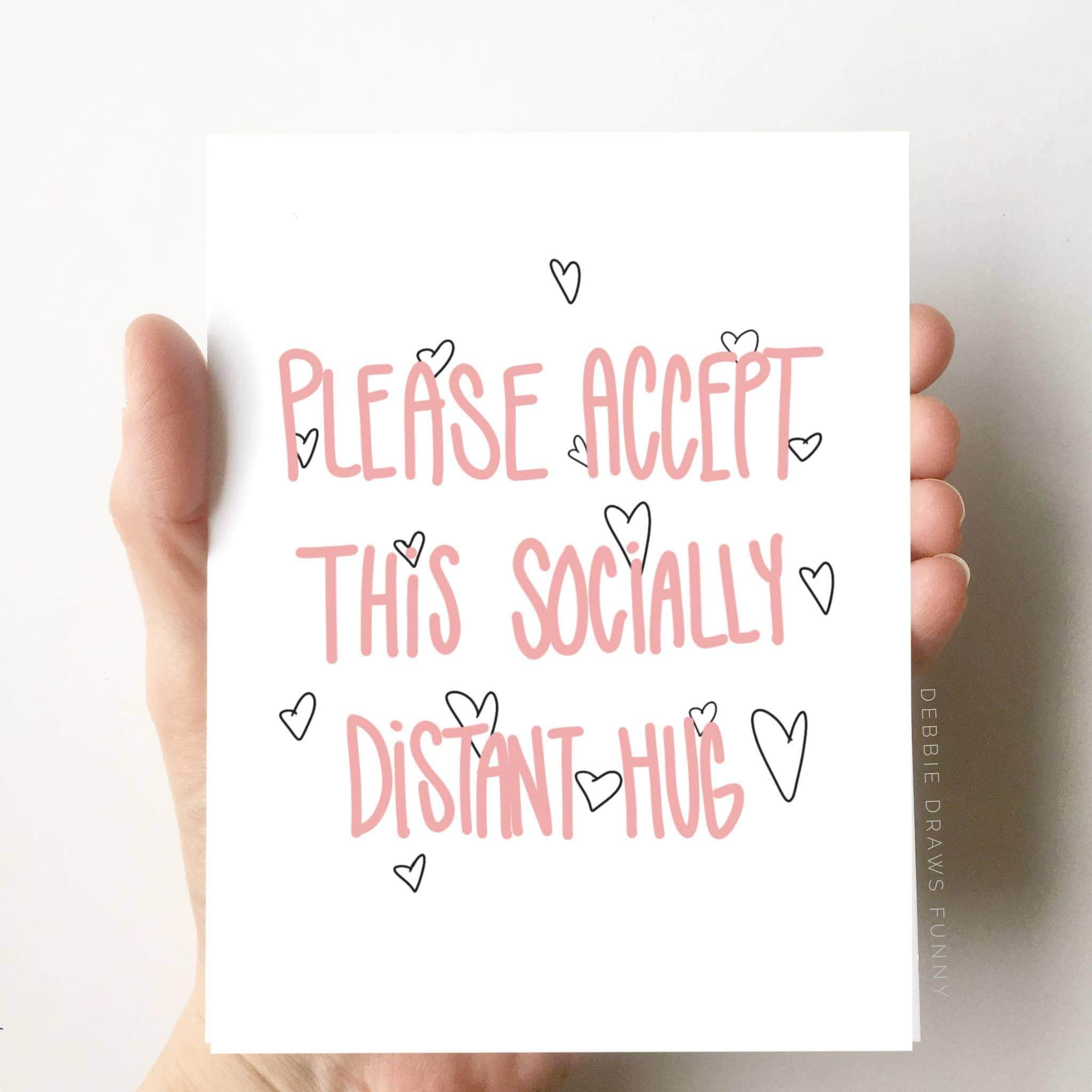 Socially Distant Hug Funny Card