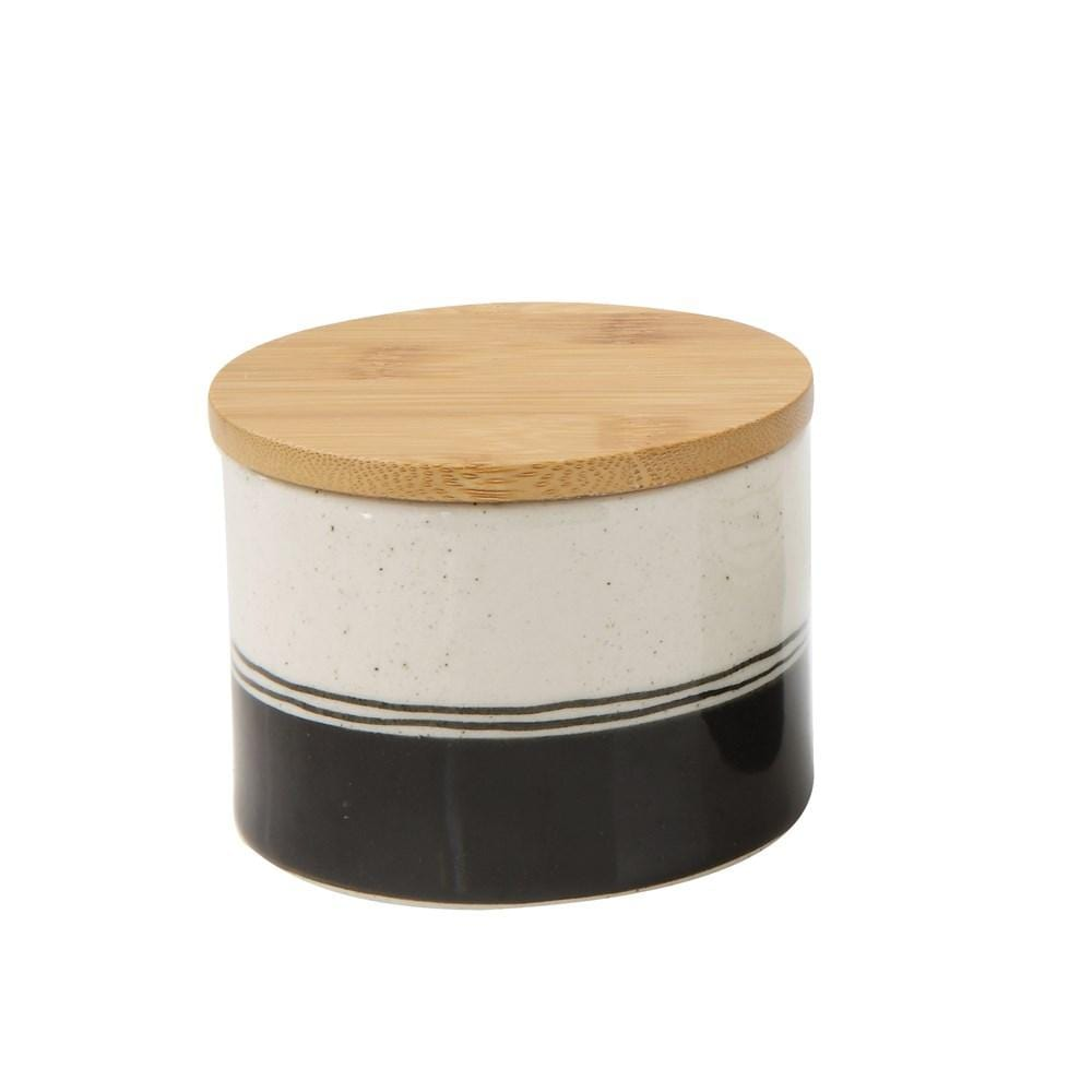 Hand-Painted Stoneware Canister w/ Bamboo Lid
