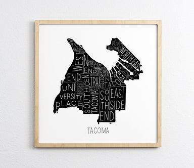 Tacoma Neighborhoods Map Print