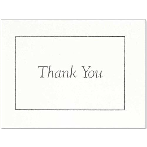 Thank You Notes - Silver On White