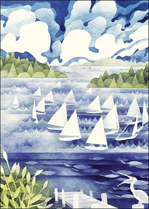 Sailboat Fleet Blank Greeting Card