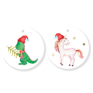 Unicorn and Dinosaur Duo Gift Tags