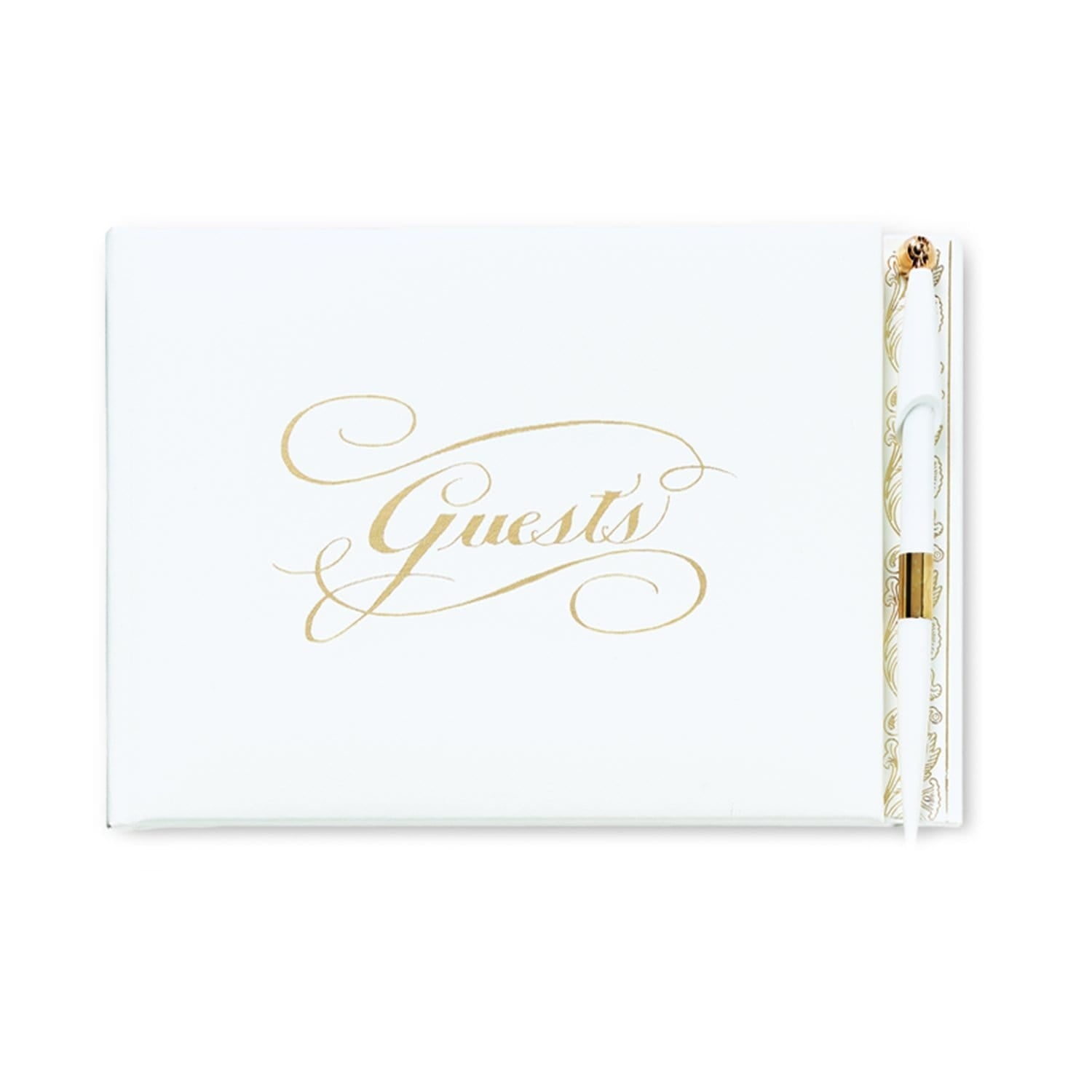 White Guest Book with Pen