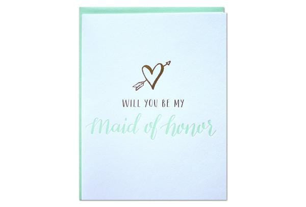 Will you be my maid of honor card parrott letterpress
