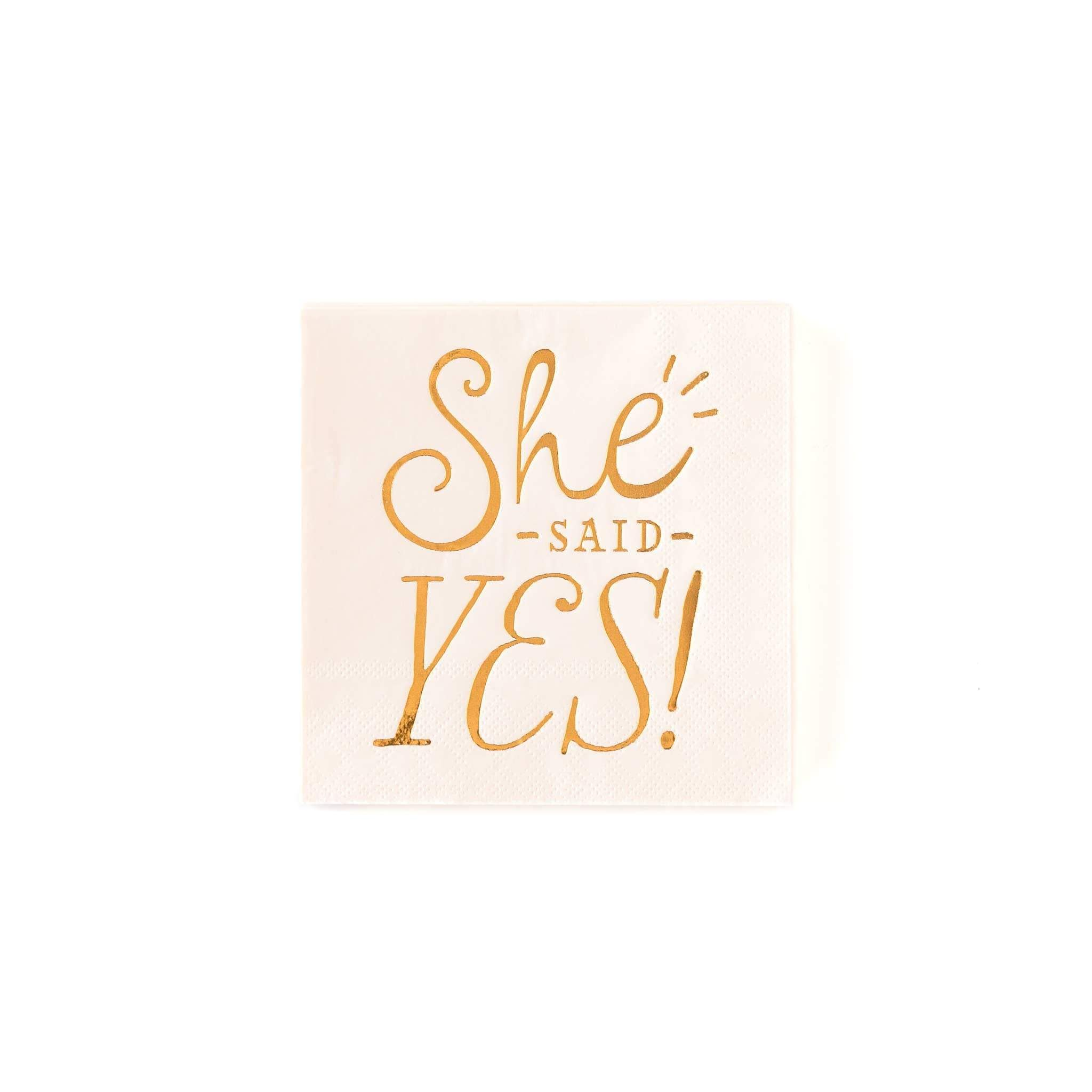"Bride to Be"" Yes"" 5"" Cocktail Napkins"