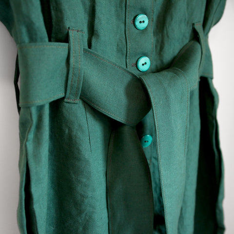 custom made jumpsuit green linen made to measure tailored womens wear ZOK patterns
