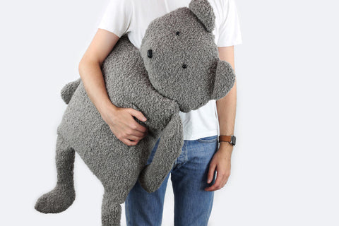 Bear Buddy Throw Pillow in Alpaca Bouclé