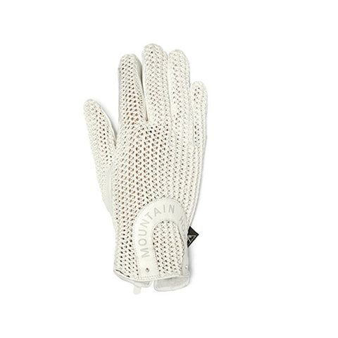 Mountain Horse Leather and Crochet Riding Gloves White