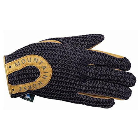 Mountain Horse Leather and Crochet Riding Gloves in Black