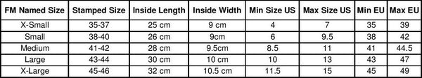 Waterski Binding and Boot Sizing Chart