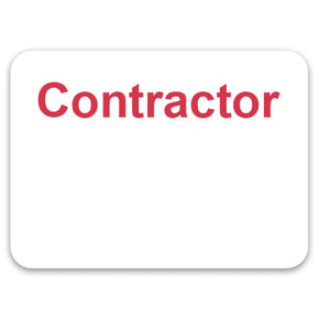 "Adhesive non-expiring badge (handwritten) with printed ""CONTRACTOR"""