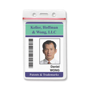 "Clear Vinyl Vertical Badge Holder with Resealable Top, 2.38"" x 3.875"""