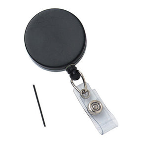 Black -Chrome Heavy Duty Badge Reel with Nylon Cord Clear Vinyl Strap & Belt Clip