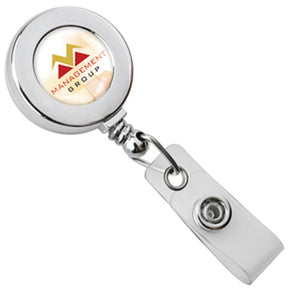 Chrome Round Badge Reel with Strap and Slide Clip