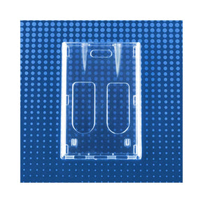"Rigid Plastic Vertical Two-card Badge Holder with thumb slots, 2-1/8"" x 3-3/8"""
