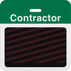 "Slotted expiring badge back with printed green ""CONTRACTOR"" bar"