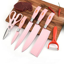 Load image into Gallery viewer, 3Cr13 Stainless Steel kitchen Knife Set in wheat straw handle (Pink)