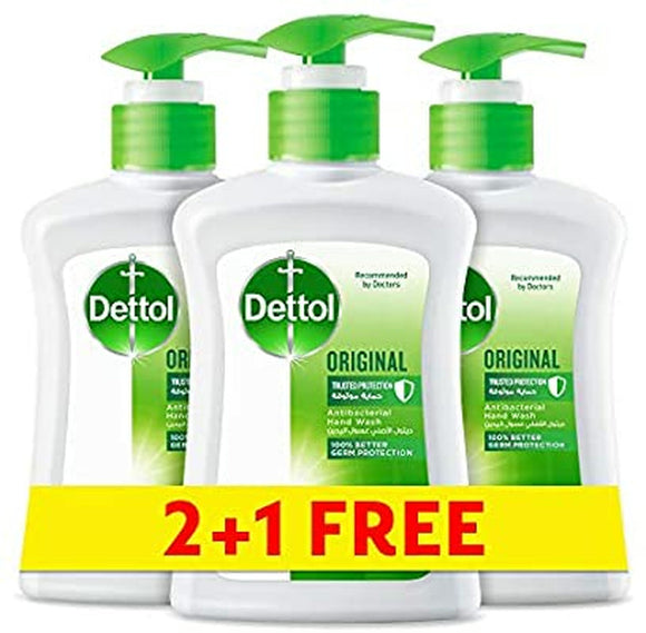DETTOL ORIGINAL ANTI-BACTERIAL LIQUID HAND WASH 200ML 2+1 FREE