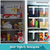 Kitchen Storage Containers with Handle, Strong Plastic Food Storage Organizer Boxes with Lids for Refrigerator, Fridge, Freezer, Cabinet Desk, 3Pcs Container Set Food Organizers with Lids