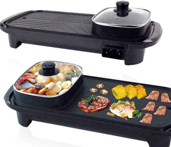 Indoor Outdoor Non-stick Smokeless Multi-Function Electric 2 in 1 BBQ Grill & Hot Pot Barbecue Oven for Party Family gathering