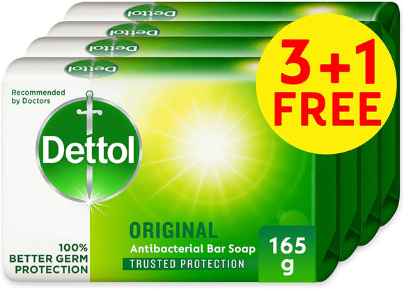 DETTOL ORIGINAL ANTI-BACTERIAL BAR SOAP 165G 3+1 FREE - PINE