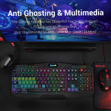 Backlit Gaming Mouse, Gaming Keyboard, Large Gaming Mouse Pad, PC Computer Gaming Headset with Microphone Combo, S101-BA Redragon RGB LED Backlit 104 Key Gaming Keyboard with Wrist Rest