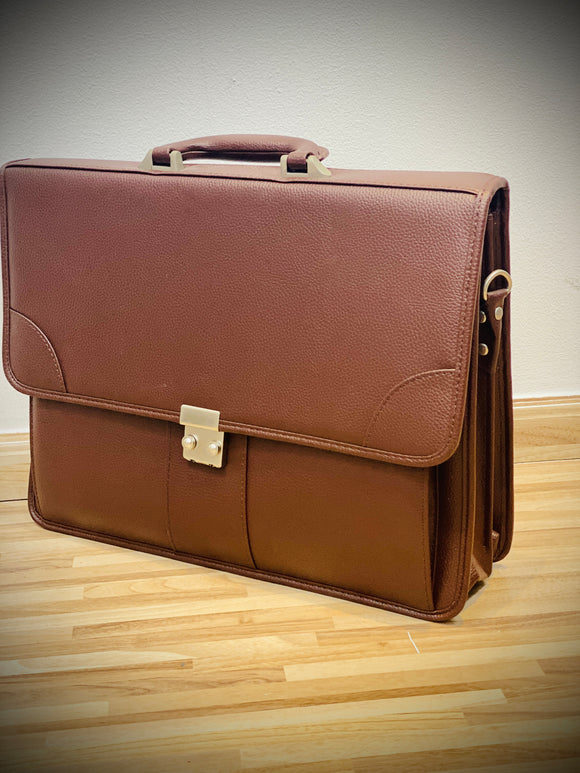 Vintage Genuine Leather Men Briefcase 15