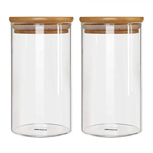 BAMBOO GLASS STORAGE JAR