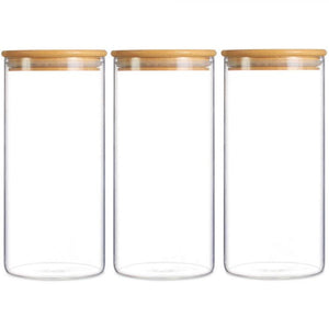 Eco-Friendly Bamboo Glass Storage Jar airtight Food Storage Container