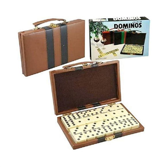 Domino Double Six - Ivory and Black Tilex  Deluxe Travel Case with handles Toys