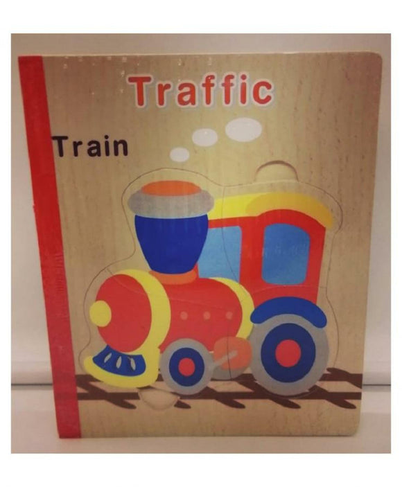 WOODEN JIGSAW 6 PUZZLES IN A BOOK - TRAFFIC TRAIN