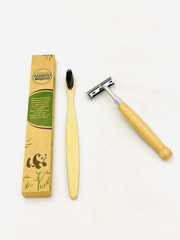 REUSABLE BAMBOO RAZOR WITH 4PC BAMBOO CHARCOAL TOOTHBRUSH