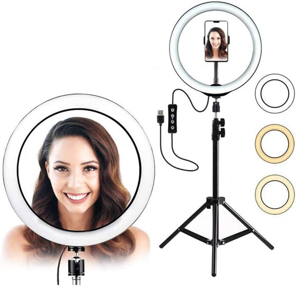 12 INCH LED RING LIGHT WITH TRIPOD STAND AND PHONE HOLDER BLACK